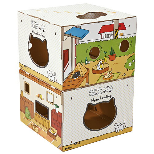 ペティオ ねこあつめ BOXタワー いつもの庭とウッドデッキ 国産 日本製 猫用 おもちゃ ダンボール 猫 全猫種 短毛猫 長毛猫 紙 またたび 粉末 Petio
