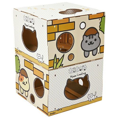 ペティオ ねこあつめ BOXタワー ねこといっしょ 国産 日本製 猫用 おもちゃ ダンボール 猫 全猫種 短毛猫 長毛猫 紙 またたび 粉末 Petio