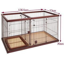 ペティオトイレのしつけが出来るドッグルームサークルゲージケージブラウンワイド犬用サークル金属木製犬全犬種Petio