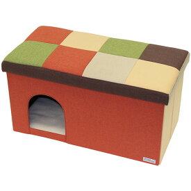 ペティオ necoco ネココ キャットハウス&スツール オレンジモザイク ワイド 猫用 犬用ハウス 布地 猫 ネコ 短毛猫 長毛猫 〜80kg リビングにぴったりなキャットファニチャー Petio