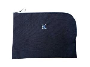 【選べるイニシャル刺繍】濃紺 お道具入れ ポーチ ナイロン製 グログランリボン 日本製