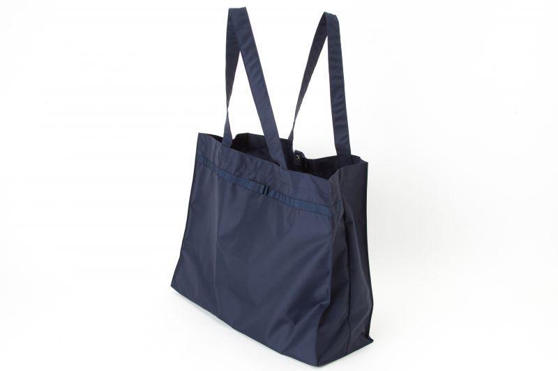 【ネコポス送料無料】【よこ型】折りたたみ お迎えランドセルバッグ 濃紺 グログランリボン 日本製 お受験