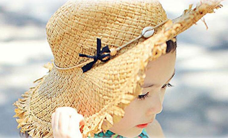 麦わら帽子 帽子 女の子 子供 アンバー ペーパー 韓国 子供服 韓国子供服