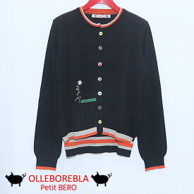 【40%OFF SALE】ALBEROBELLO アルベロベロ ぶたさんボルタリングワッペン刺繍クルーネックカーディガン 2020春夏 ブラック セール