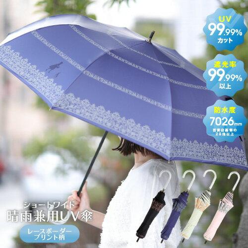 UVカット99.99%以上 遮光99.99%以上 防水度7026mm♪ 日傘 晴雨兼用傘 アリスプリント ショートワイド ブラック ネイビー ベージュ ピンク<傘 晴雨兼用 日傘 完全遮光 折りたたみ 折り畳み日傘 母の日 UVカット 100% プレゼント 女友達 誕生日ギフト かわいい>