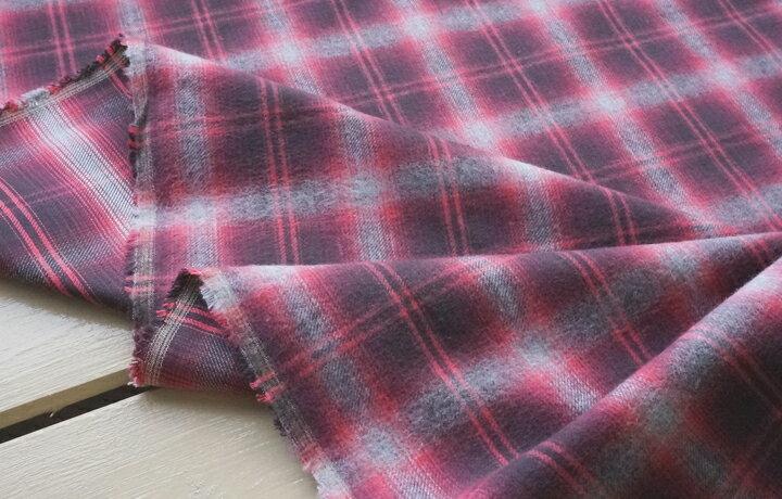起毛ツイル チェック 頬ずり暖か起毛ツイル ローズピンクとライトグレーチェック 起毛 ツイル 生地 布 綿 コットン プチファボリ