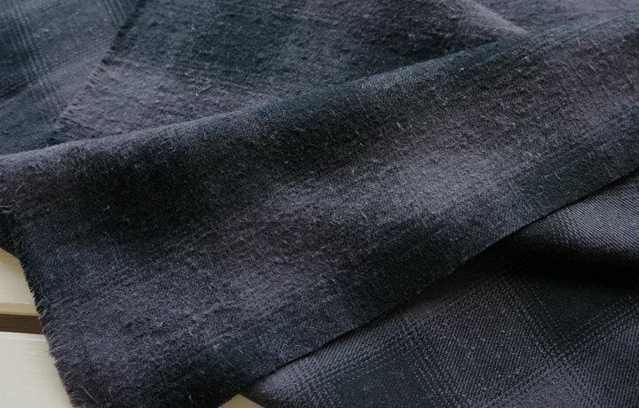 起毛ツイル チェック ビンテージ ネップツイル ブラック&チャコールチェック ツイル 起毛 コットン 綿 生地 布 プチファボリ