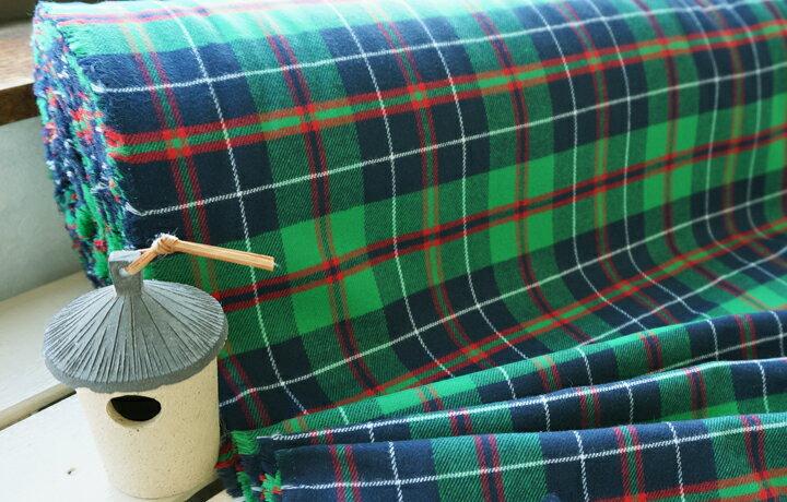 起毛ツイル チェック コットン 最高級綿 【GIZA86】使用 柔かくふんわりなめらかなビエラチェック 元気グリーン ツイル 綿 起毛 ギザ GIZA 緑 生地 布 プチファボリ