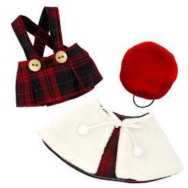【メール便対象商品】クリスマスキャロルレッドコスチューム 12cm ぬいぐるみ お洋服 ベア ポンチョ スカート ベレー帽 775402