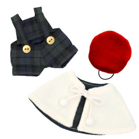 【メール便対象商品】クリスマスキャロルグリーンコスチューム 12cm ぬいぐるみ お洋服 ベア ポンチョ スカート ベレー帽 775402