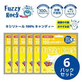 キシリトール 100% キャンディー タブレット FuzzyRock ファジーロック レモン味 6パックセット あめ アメ こども 虫歯 甘い 爽快感 歯磨き ノンシュガー 糖類オフ 歯 矯正 防災