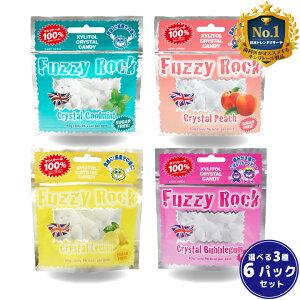 キシリトール 100% FuzzyRock ファジーロック 選べる3種6パックセット キャンディー タブレット あめ アメ こども 虫歯 甘い 爽快感 歯磨き ノンシュガー 糖類オフ 歯 矯正 防災