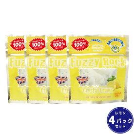 【キシリトール 100%】 キャンディー タブレット FuzzyRock ファジーロック レモン味 4パックセット あめ アメ こども 虫歯 甘い 爽快感 歯磨き ノンシュガー 糖類オフ 歯 矯正 防災