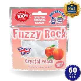 【キシリトール 100%】 FuzzyRock ファジーロック ピーチ味 60パックセット キャンディー タブレット あめ アメ こども 虫歯 甘い 爽快感 歯磨き ノンシュガー 糖類オフ 歯 矯正 防災