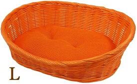 ペットプロ 手編みカラーベッド L オレンジ 犬 猫 ベッ