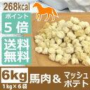 ドッグフード 低カロリー 国産 銀座ダックスダックス 馬肉フード(馬肉/マッシュポテト) 6kg(1kg入り×6) グ…