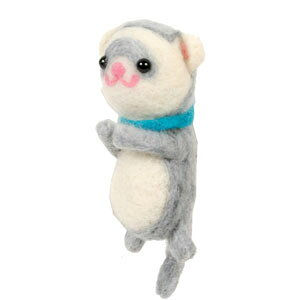 ITANZA 羊毛おでかけフェレットブローチ(シルバー グレー)MD-007フェレット オーナーグッズ オーナー雑貨 フェレット羊毛 アクセサリー 羊毛 フェルト ブローチ ハンドメイド ピンバッジ