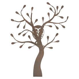 ウォールデコレーション OWLツリー(YFH-1420)フクロウ ふくろう 雑貨 アイアン 飾り 壁飾り ガーデニング ディスプレイ 壁掛け 玄関 ウォールデコ アンティーク レトロ インテリア オーナー雑貨