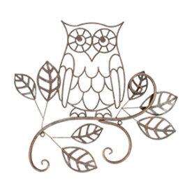 ウォールデコレーション OWL(YFH-1180)フクロウ ふくろう 雑貨 アイアン 飾り 壁飾り ガーデニング ディスプレイ 壁掛け 玄関 ウォールデコ アンティーク レトロ インテリア オーナー雑貨