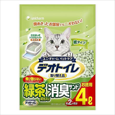 ユニチャーム 1週間消臭・抗菌デオトイレ 飛散らない緑茶成分入り 消臭サンド 4L