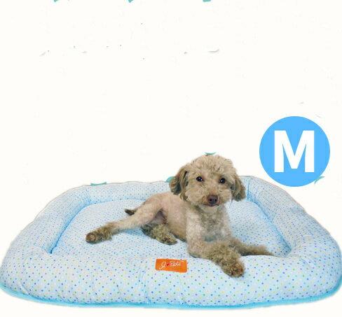 【犬猫 ベッド】ボンビアルコン サマードットクッション M ブルー 綿 フラットタイプ 顎のせ 春夏用 犬用品 犬 いぬ イヌ 猫用品 猫 ねこ ネコ ペット用品 ペット