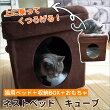 【猫ベッド】フォーユーネストベッドキューブインテリアベッド寝具ステップ収納箱BOX畳めるおもちゃ付き