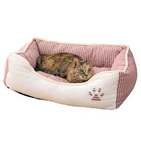 ペット ベッド 肉球マークのストライプ角型ペットベッド Sサイズペット ベッド 猫 犬 小型犬 通年 あったか スクエア PB-T007RD PB-T007BR PB-T007GY レッド ブラウン グレー楽天 【D】