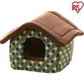 ハウス Sサイズ PHJ460 レッド グリーン ペットベッド ベッド ハウス ペット 犬 イヌ いぬ 猫 ネコ ねこ あったか 秋冬 冬用 ペット用 犬用 猫用 手洗い かわいい 肉球 屋根付き 超小型犬 アイリス