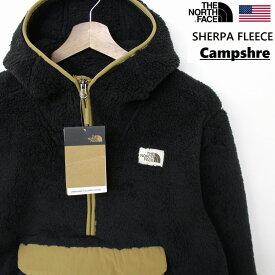 THE NORTH FACE ザ ノースフェイス Campshire ANORAK JACKET アノラック フリースジャケット メンズ 黒×ブリティッシュカーキ モコモコ ボア仕様