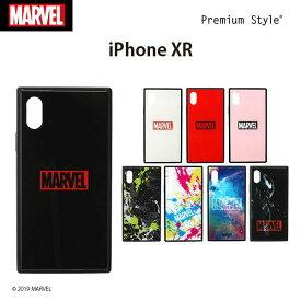 MARVEL マーベル iPhone XR用 ガラスハイブリッドケース【マーベル ロゴ アメコミ ガラスハイブリッド アイフォン XR】