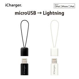 Lightning - micro USB 変換アダプタ【micro USB端子 iPhone iPad iPod 充電 データ通信 キャップ付き ストラップ ミニサイズ 手のひらサイズ コンパクト 小さい 持ち運び楽 便利】