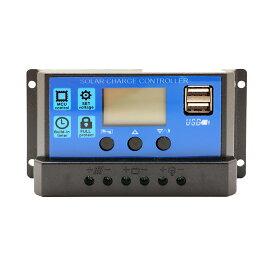 ソーラーパネル コントローラー チャージコントローラー PWM式 12V/24V LCDデュアル液晶 充電コントローラー レギュレーター USB付き ソーラーチャージ 太陽光発電
