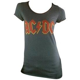 AC/DC エーシーディーシー (地獄のハイウェイ40周年記念 ) - Logo / Amplified( ブランド ) / Tシャツ / レディース 【公式 / オフィシャル】