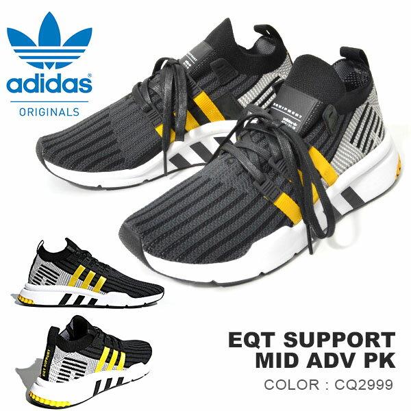 送料無料 スニーカー アディダス オリジナルス adidas Originals メンズ EQT SUPPORT MID ADV PK ミッドカットスニーカー 靴 シューズ cq2999 ブラック 黒 3本線