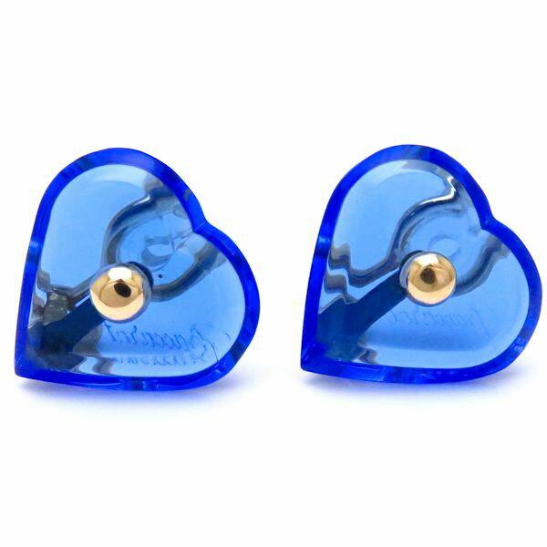 バカラ Baccarat クリスタルハートイヤリング 750YG ブルー 青 18金イエローゴールド/096691【中古】【クリーニング済】