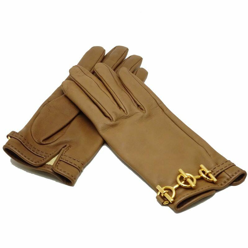 エルメス レディース グローブ 手袋 グレナン レザー サイズ6 ブラウン 茶 HERMES/040671 スターマーク入り【中古】【クリーニング済】