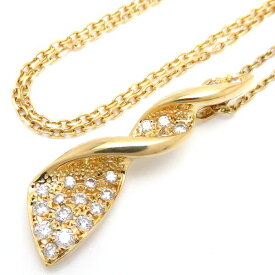 ミキモト MIKIMOTO ネックレス ダイヤモンド0.28ct K18YG 18金イエローゴールド ペンダント/096750【中古】【クリーニング済】
