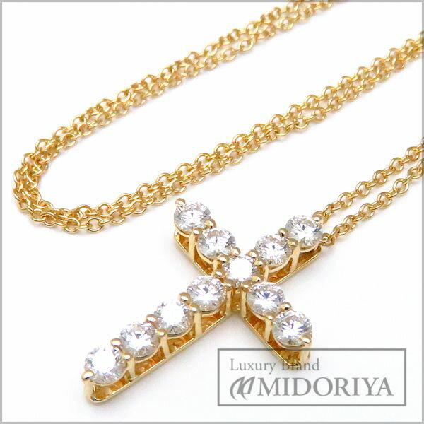 ティファニー TIFFANY スモールクロスネックレス ダイヤモンド11P 750YG 18金イエローゴールド ペンダント/096833【中古】【クリーニング済】