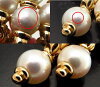 Bulgari earrings BVLGARI pasodopio 750 YG Pearl / 93905 18 k Yellow Gold Pearl