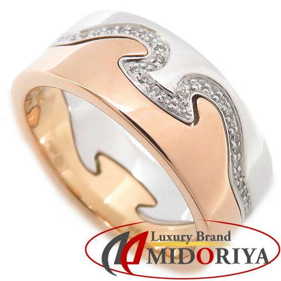 喬治詹森Georg Jensen混合音樂環鑽石K18WGxPG 9.5號搭擋彩色2瓶一套戒指/09萬9717 Pawn shop MIDORIYA PHASE