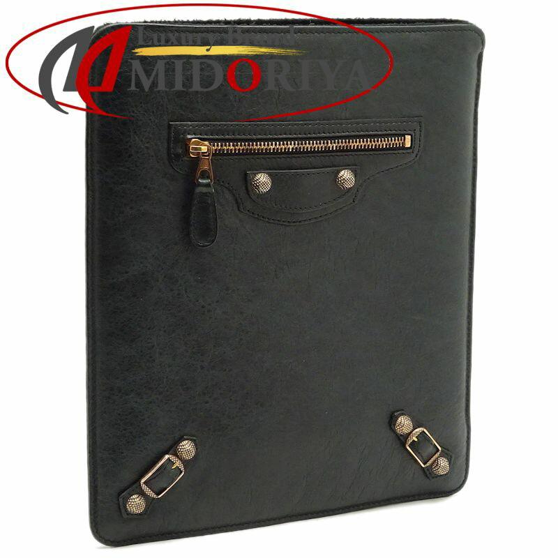 バレンシアガ BALENCIAGA タブレットケース iPadケース レザー ダークグリーン 527147 /044298 【中古】