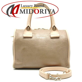 Authentic SEE BY CHLOE Boston Bag 2WAY Shoulder Leather Gold Beige /053520 FREE SHIPPING