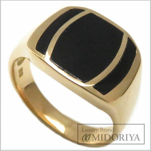 【緊急!大幅値下げ】指輪 オニキス 印台 リング 16号 K18YG メンズ/62862【中古】【クリーニング済】