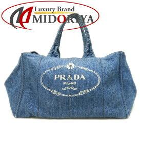 プラダ PRADA B1872B カナパL デニム AVIO インディゴ トートバッグ/059004【中古】