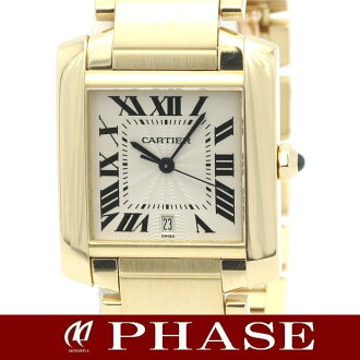 Cartier K18YG solid Francaise LM mens Silver Guilloche automatic winding / 31522 fs3gm