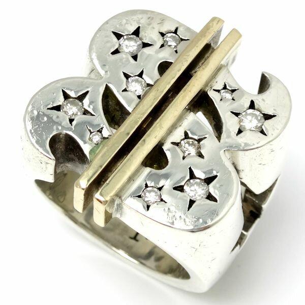 【緊急!大幅値下げ】テンダーロイン TENDERLOIN ダラーリング ダイヤモンド SV925x8KYG 18号 メンズ/92109【中古】【クリーニング済】