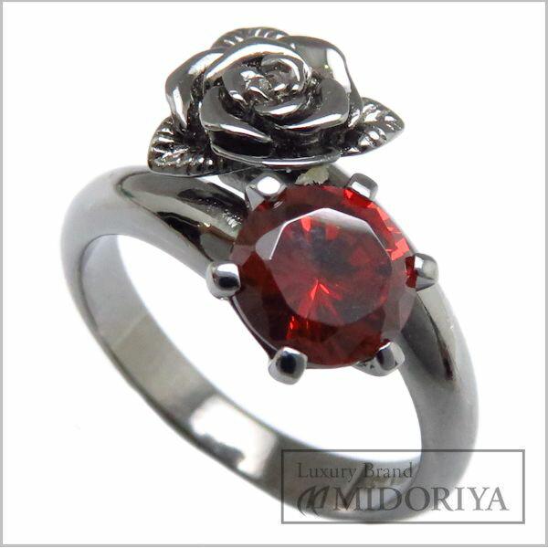 【緊急!大幅値下げ】Viewlu ヴュール SV925 ワインディングローズリング 赤石 Ring VRLR-003 ACZ 7.5号 シルバー ブラックロジウムコーティング 指輪 メンズ/95074【中古】【クリーニング済】