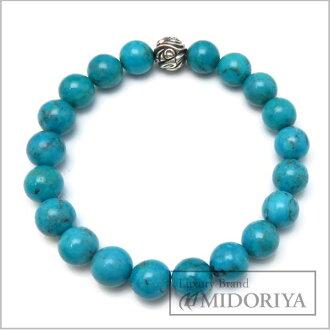 LONE ONES Sterling Silver 925 Men's Embossed Nest Bead Bracelet Turquoise /94338