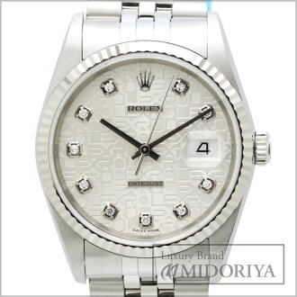 Rolex ROLEX date just 10P diamond 16234G WG/SS silver carving computer men self-winding watch /34345 watch