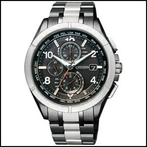 シチズン アテッサ ダイレクトフライト 30周年 記念 限定モデル Black Titanium Series ソーラー 電波 時計 メンズ 腕時計 AT8165-51E